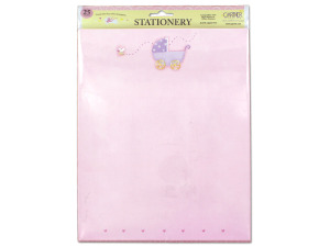 Wholesale: Pink Baby Stationery with Baby Carriage