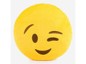 Emoticon Wink Face Plush Pillow