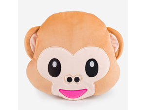 Emoticon Monkey Face Plush Pillow