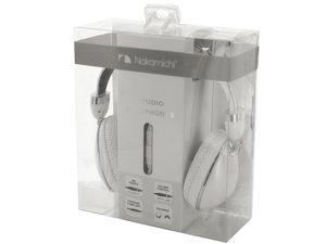 Nakamichi Foldable White Studio Headphones with Mic