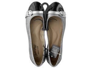 Ladies Size 8.5 Buckle Toe Silver & Black Memory Foam Flats