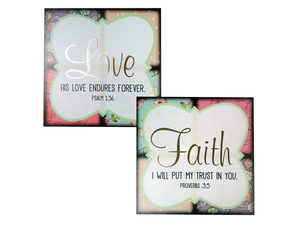 Wholesale: Faith & Love Patchwork Canvas Wrapped Wall Art