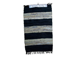 Wide Stripe Leather Chindi Rug