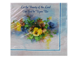 Wholesale: Lilac Floral Religious Themed Paper Luncheon Napkins