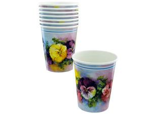 Wholesale: 8ct 9oz pansies cups