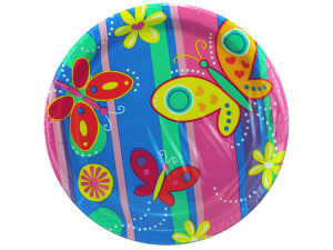 Wholesale: 8 count bright butterflies paper plates