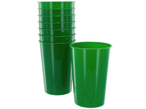 Wholesale: 8 pack 9oz green plastic cups