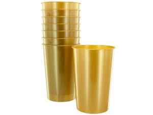 Wholesale: 8 pack 9oz gold plastic cups