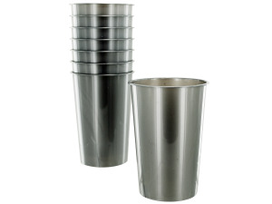 Wholesale: 8 pack 9oz silver plastic cups