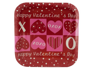Wholesale: 8 pack 6.75 inch craft hearts paper plates