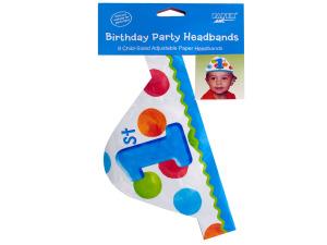 8 pack 1st birthday dots boy headband