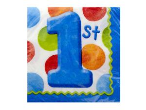 Wholesale: 16 pk 9 7/8 x 9 7/8 big 1 dots boy beverage napkins