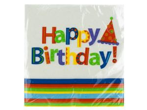 Wholesale: 24 pk 12 7/8 x 12 3/4 in. party stripes birthday napkins