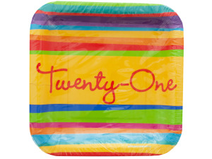 Wholesale: Birthday Stripes 21 Square Snack Plates Set