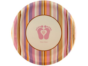 Wholesale: 8 pack tiny toes pink plates 6 7/8 inch