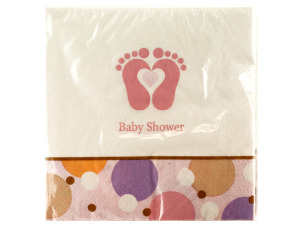 Wholesale: 18 pack tiny toes beverage napkins 9 7/8 x 9 7/8 inch