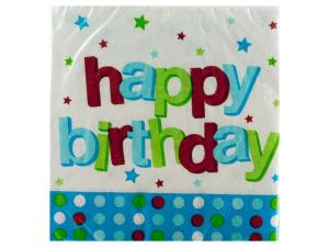 Wholesale: 16pack 1st blue dots happy birthday beverage napkins