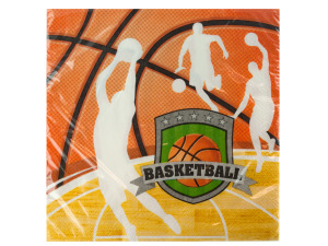 Wholesale: 16 pack team sports basketball lunch napkins 12 7/8 x 12.75