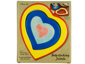 Ceramic 2 in 1 Interlocking Heart Trivets