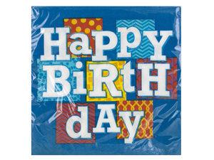 Wholesale: Happy Birthday Blocks Lunch Napkins Set