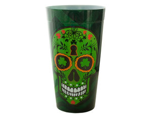 Wholesale: Lucky Green Sugar Skull Plastic Tumbler Cup