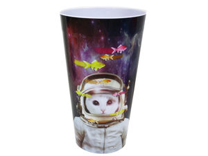 Wholesale: Cat in Space with Goldfish Plastic Tumbler Cup