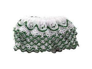 Wholesale: 4 Yard Green & White Ruffled Lace Trim