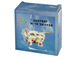 Wholesale: Ceramic Floral Print Ashtray with Snuffer