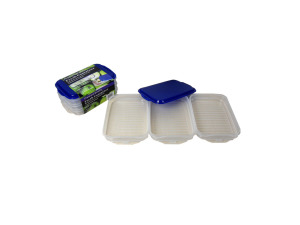 Plastic container storage set, pack of 3