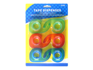 Wholesale: 6 pack tape dispenser, assorted colors
