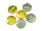 "Gold And Silver Engraved ""Mom"" Charms"