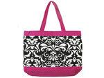 Damask Black, White & Pink Fabric Tote Bag