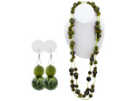 Green Beaded Necklace & Earrings Set