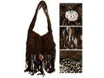 Brown Hand Knit Over-the-Shoulder Bag