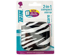 Trim Zebra Print 2 in 1 Compact Mirror with Magnetic Closure