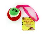 Tennis ball dog toy with nylon strap