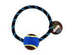 Rope dog toy with tennis ball