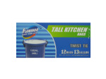 Tall white kitchen bags, 13 gallon, pack of 12