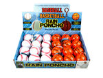 Baseball and Basketball Rain Poncho in Countertop Display.