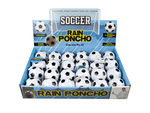Soccer Ball Keychain Rain Poncho in Countertop Display