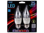Feit 2 Pack LED Dimmable Chandelier Bent Tip Light Bulbs