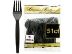 Heavy Duty Black Plastic Forks Set