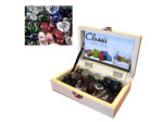 Glass heart stones in box