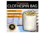 Drawstring Clothespin Bag with 10 Wooden Pins