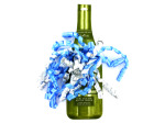 Blue and silver curled ribbon bottle topper