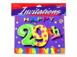 29th birthday invitations, pack of 8