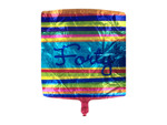 "Striped mylar balloon celebrating ""forty"""
