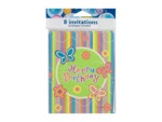 "Butterfly Stripe ""Happy Birthday"" Party Invitations"