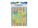 "Butterfly Stripe ""Happy Birthday"" Party Invitations"