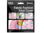 3 Pack Girls Asst 5.7 x 4.3 Inch Washable Fabric Face Mask